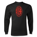 AC Milan Distressed Logo LS T-Shirt (Black)