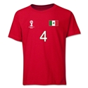 Mexico 2014 FIFA World Cup Brazil(TM) Youth Number 4 T-Shirt (Red)