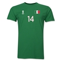 Mexico FIFA World Cup Brazil(TM) Men's Number 14 T-Shirt (Green)