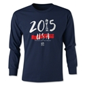 USA Women's World Cup Champions Youth LS T-Shirt (Navy)