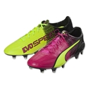 Puma evoSpeed SL Leather II Tricks FG (Pink Glo/Safety Yellow)