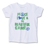Peace Love & The Beautiful Game Youth Soccer T-Shirt (White)
