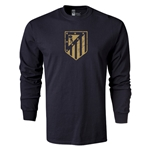 Atletico Madrid Distressed Crest LS T-Shirt (Black)