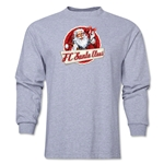 FC Santa Claus Animated Santa Men's LS T-Shirt (Grey)