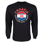 Croatia Euro 2016 Core Emblem Long Sleeve T-Shirt (Black)