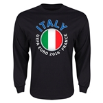 Italy Euro 2016 Core Emblem Long Sleeve T-Shirt (Black)