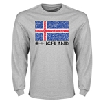 Iceland Euro 2016 Element Flag Long Sleeve T-Shirt (Grey)