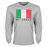 Italy Euro 2016 Element Flag Long Sleeve T-Shirt (Grey)
