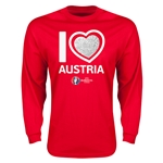 Austria Euro 2016 Heart Long Sleeve T-Shirt (Red)