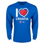Croatia Euro 2016 Heart Long Sleeve T-Shirt (Royal)