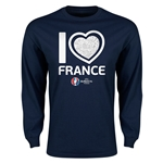 France Euro 2016 Heart Long Sleeve T-Shirt (Navy)