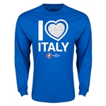 Italy Euro 2016 Heart Long Sleeve T-Shirt (Royal)