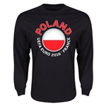 Poland Euro 2016 Flag Long Sleeve T-Shirt (Black)
