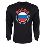 Russia Euro 2016 Flag Long Sleeve T-Shirt (Black)