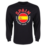 Spain Euro 2016 Flag Long Sleeve T-Shirt (Black)
