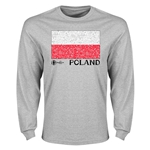 Poland Euro 2016 Element Flag Long Sleeve T-Shirt (Grey)