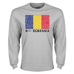 Romania Euro 2016 Element Flag Long Sleeve T-Shirt (Grey)