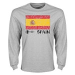 Spain Euro 2016 Element Flag Long Sleeve T-Shirt (Grey)
