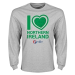 Northern Ireland Euro 2016 Heart Long Sleeve T-Shirt (Gray)