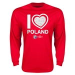 Poland Euro 2016 Heart Long Sleeve T-Shirt (Red)