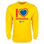 Romania Euro 2016 Heart Long Sleeve T-Shirt (Yellow)