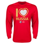 Russia Euro 2016 Heart Long Sleeve T-Shirt (Yellow)