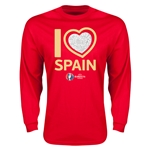 Spain Euro 2016 Heart Long Sleeve T-Shirt (Red)