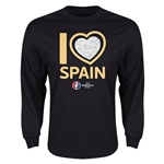 Spain Euro 2016 Heart Long Sleeve T-Shirt (Black)