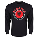 Albania Euro 2016 Flag Long Sleeve T-Shirt (Black)