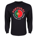 Portugal Euro 2016 Flag Long Sleeve T-Shirt (Black)