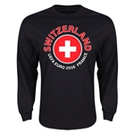 Switzerland Euro 2016 Flag Long Sleeve T-Shirt (Black)