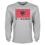 Albania Euro 2016 Elemental Flag LS T-Shirt (Grey)