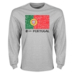 Portugal Euro 2016 Elemental Flag LS T-Shirt (Grey)