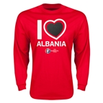 Albania Euro 2016 Heart LS T-Shirt (Red)