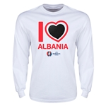 Albania Euro 2016 Heart Long Sleeve T-Shirt (White)