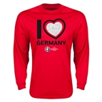Germany Euro 2016 Heart Long Sleeve T-Shirt (Red)