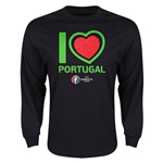 Portugal Euro 2016 Heart Long Sleeve T-Shirt (Black)