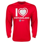 Switzerland Euro 2016 Heart Long Sleeve T-Shirt (Red)
