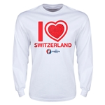 Switzerland Euro 2016 Heart Long Sleeve T-Shirt (White)
