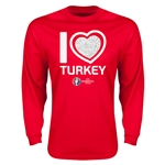 Turkey Euro 2016 Heart Long Sleeve T-Shirt (Red)