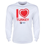 Turkey Euro 2016 Heart Long Sleeve T-Shirt (White)