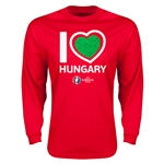 Hungary Euro 2016 Heart Long Sleeve T-Shirt (Red)