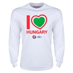 Hungary Euro 2016 Heart Long Sleeve T-Shirt (White)