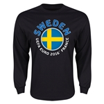 Sweden Euro 2016 Flag Long Sleeve T-Shirt (Black)