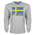 Sweden Euro 2016 Elemental Flag LS T-Shirt (Grey)