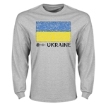 Ukraine Euro 2016 Element Flag Long Sleeve T-Shirt (Grey)