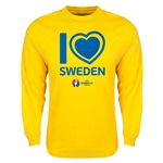Sweden Euro 2016 Heart Long Sleeve T-Shirt (Yellow)