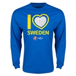 Sweden Euro 2016 Heart LS T-Shirt (Royal)