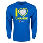 Ukraine Euro 2016 Heart LS T-Shirt (Royal)