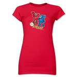 2002 FIFA World Cup Kaz & Nik Mascot Logo Junior Women's T-Shirt (Red)